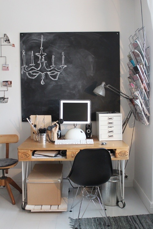 DIY: pallet desk and chalkboard wall (via In the Office / Image Via: A Feminine Tomboy)
