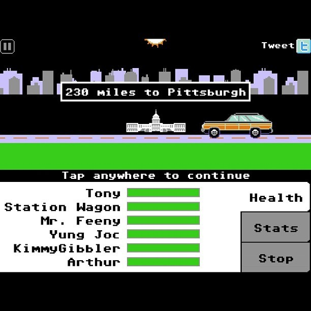 Another screen shot from the game.. My team is dope! lol #oregontrail #yungjoc #kimmygibbler #mrfeeny #arthur #gamer #lol