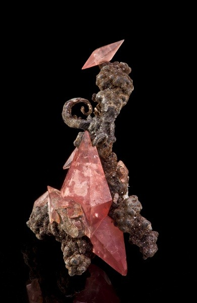 mineralists:  Double terminated Rhodochrosite and Silver. Very neat!Uchucchacua Mine, Peru
