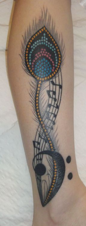 fuckyeahtattoos:  My tribute to my favourite bass player, Tom Petersson.  Peacock feather in the design of his rhinestone peacock bass, a bass clef, and 12 notes - 3 Es, 3 As, 3 Ds, 3 Gs - in honour of the 12 string bass he invented. Done by Johnny Casino at The Illustrated Man in Sydney Australia.