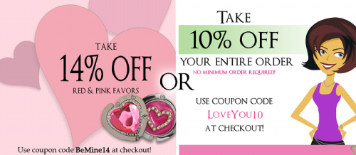 "In Honor of Valentine's Day take 14% OFF any Red or Pink Favor or 10% OFF your entire purchase! Just enter the code BeMine14 or LoveYou10 at checkout to take enjoy this ""Heart Felt"" Savings. Just go to www.littlethingsfavors.com/promo.html for more!"