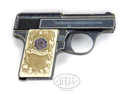 Factory engraved Walther Model 9 pocket pistol with ivory grips.