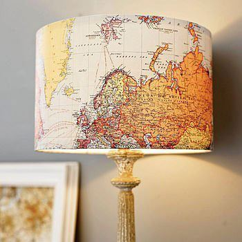 inspirations4yourlife:  DIY Map Lampshade Just make sure the map is one sided or the light will reveal the backside