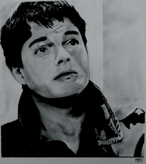 '77 Barton Street'.   Sam Riley as Ian Curtis from the film 'Control'. Ink on A3.