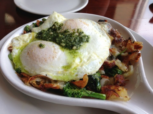 bvsc:  Green Goddess breakfast skillet from Nookies in Edgewater. Major nomnoms, one of the few ways swiss chard actually tastes good ;p -Braised Bombshell