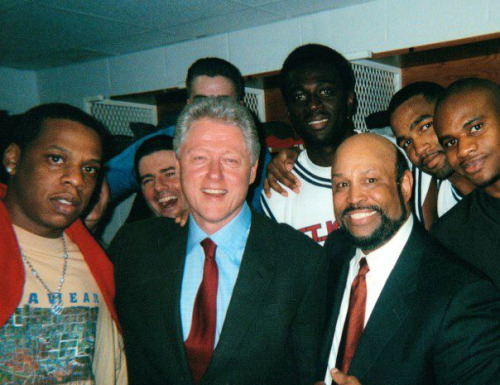 What a collection— Jay-Z, Bill Clinton, and Mike Jarvis (and the St. John's University Red Storm basketball team). // enicoleh:aintnojigga