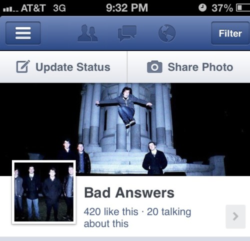 thiscouldbelove777:  Like our page and help us get known! www.facebook.com/badanswers