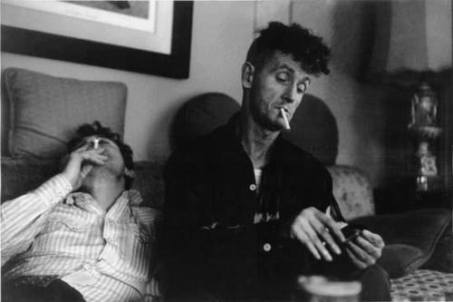 mountain-hopper:  Ramblin' Jack Elliott and Woody Guthrie  I dunno why I bothered to look considering Woody's 100th birthday celebration was just last year, but wanted to see if these two were contemporaries. I mean, they're hanging out, but Woody had 20 years on Jack.