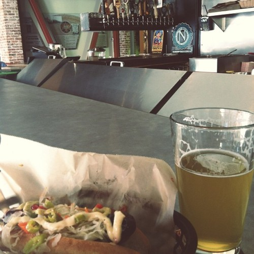 Happy birthday sausage and Allagash at my new neighbor!   (at Rosamunde)