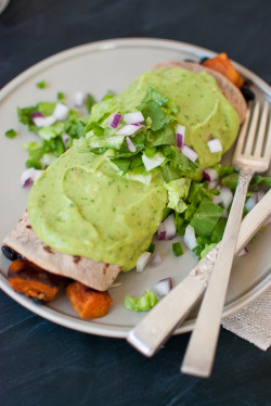 laurencephilomene:  (via Sweet Potato Burrito Smothered in Avocado Salsa Verde - Cookie and Kate) making these tonight!