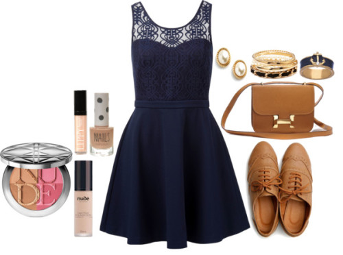 stylebylk:   Untitled #351 by lindskat featuring navy jewelry Forever New sweetheart cocktail dress, $92 / Flat oxford shoes / Kate Spade / Blu Bijoux navy jewelry / Forever 21  / Christian Dior / Butter London lip makeup / Topshop gray nail polish, $7.78