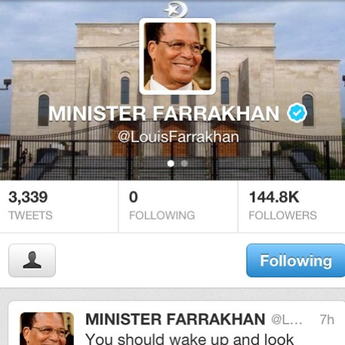 Join the #farrakhantwitterarmy That number of followers is a pretty powerful one as only 144,000 of us will make it into that new world. #farrakhanspeaks