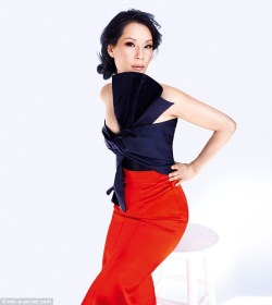 elizabethswardrobe:  Lucy Liu in a Maison Martin Margiela shirt and Burberry Prorsum skirt for Net-a-Porter.