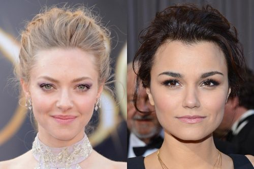 Les Mis costars Amanda Seyfried and Samantha Barks both wore simple gowns with similar updos and chic makeup at the Oscars. Whose simple yet sleek look do you prefer?