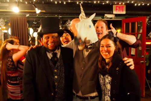 In which the author photobombs two vampires and a unicorn at her book launch party.