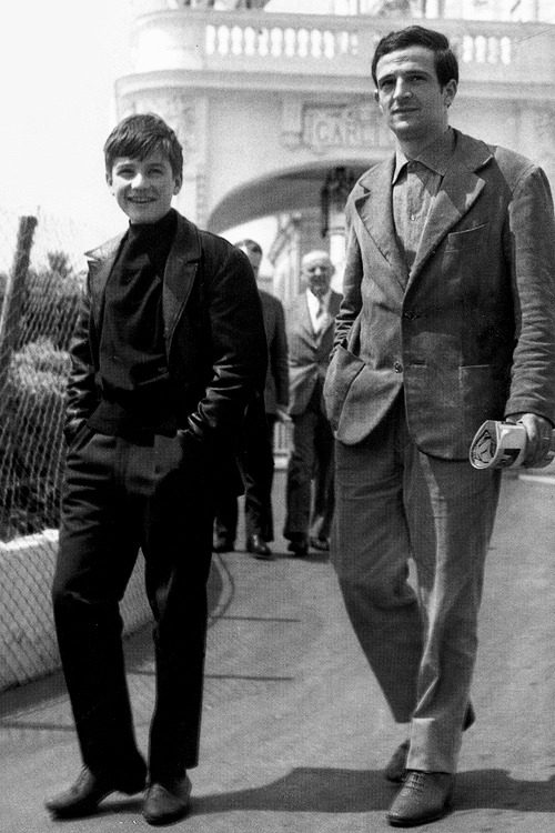 Jean-Pierre Léaud and François Truffaut, at Cannes Film Festival, 1966.