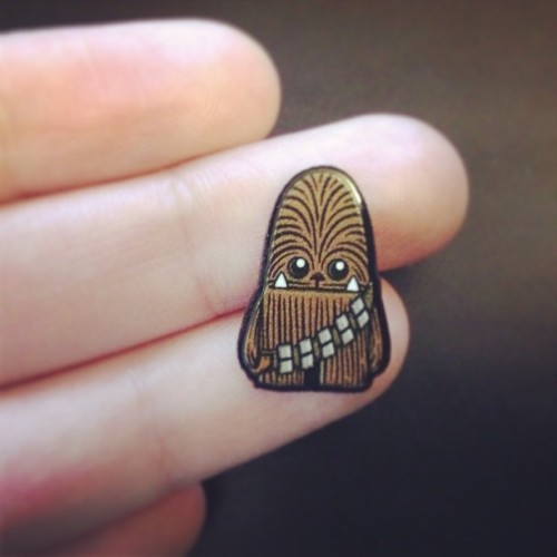 Teeny little wookiee guy, pops right up before your eyes, he's no bigger than a fly, it's teeny..little..wookiee guy! #earrings #sneakpeek #starwars #inkitlabs