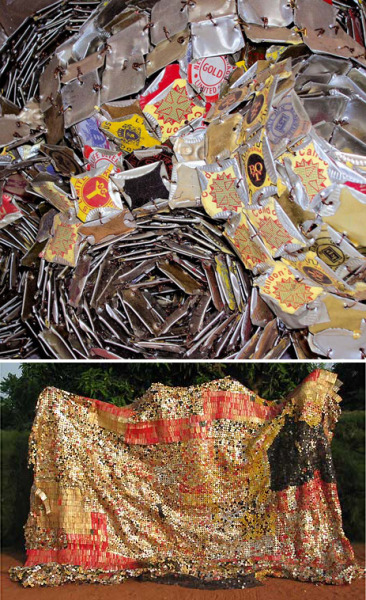 "El Anatsui. It is amazing to see the diversity of textures and surfaces that he creates from the simplest of materials.  The aluminum bottle cap and can - crushed, folded, bent, and linked together with copper wire - results in this wide array of visual possibilities.  Effects range from translucent veils to dense mosaics of rich colour. ""I believe that artists are better off working with whatever their environment throws up. I think that's what has been happening in Africa for a long time,"" Anatsui said in a 2003 interview. ""I believe that color is inherent in everything, and it's possible to get color from around you, and that you're better off picking something which relates to your circumstances and your environment than going to buy a ready-made color."" http://www.beachpackagingdesign.com/wp/2009/02/el-anatsui.html"