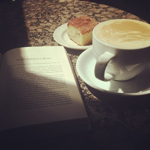 At a coffee shop. By myself. With a book. Most amazing everything ever.