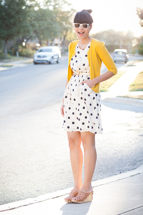 "2013. miss sunshine. cardigan by halogen. scatter dot dress by j.crew. vintage belt. gloria wedges by bed stu. william rast sunglasses.the classic, breezy dress means a lot to me— at age 6, my favorite frock had dozens of navy dots, and twenty-odd years later, i got engaged in the grown-up version. i've worn it with several cardigans and my jean jacket.on monday, i paired it with a yellow sweater and clogs (probably my favorite combo yet). while he snapped pictures, michael said, ""make a pensive face… make a giggle face… make a madewell face."" this is it.get styled by miss sunshine on saturday, march 9th from 5 to 7. details here.the look 