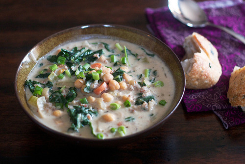 Creamy Chickpea and Rice Soup with a Little Kale