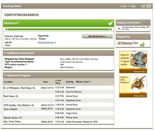Varys' package tracked ;) lol #GoT (via http://www.grantland.com/blog/hollywood-prospectus/post/_/id/74994/track-varyss-mail-order-sorcerer-from-game-of-thrones?kml)