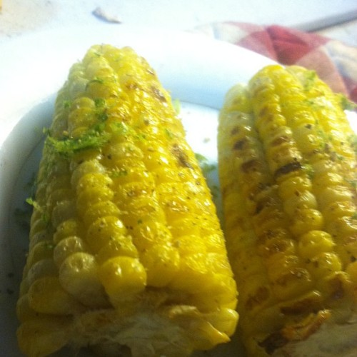 Grilled corn on the cob buttered up and spiced w lime zest salt a cracked pepper. #noms #yummy #foodpics #foodporn #fooddiary #grilling #vegetables #vegetarian #bornappetit