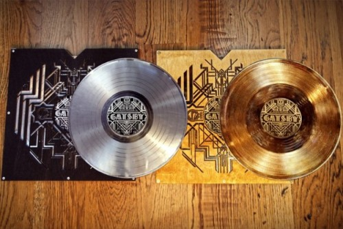 theplanetofsound:  Third Man Records has released a limited edition gold and platinum record set for the feature film The Great Gatsby's soundtrack.  Assembled by hand, the deluxe metallized discs come packaged in a laser-cut birch wood LP jacket, riveted to aluminium spines. The soundtrack for Baz Luhrmann's adaptation of F. Scott Fitzgerald's classic novel was executively produced by Jay Z and features an all-star line-up with Jack White, Florence +The Machine, Beyoncé & André 3000, will.i.am, Lana Del Rey, and more. These unique hand made sets will retail for $250 and will be available in a limited number through the Third Man website (US only). Third Man is also announcing the release date of June 11th for the standard edition double album. The soundtrack will be on 180 gram vinyl and housed in a Gold Foil stamped gatefold sleeve.  Whot?