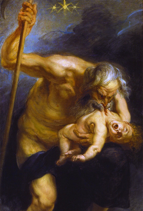 Saturn, Jupiter's father, Devours One of His Sons, Neptune (1636-1638) Peter Paul Rubens