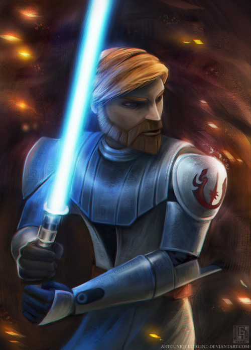 Obi-Wan Kenobi from Star Wars: The Clones Wars. Drawn on Painter 11.YAY done all three main characters now. Anakin can be found here and Ahsoka can be found here!I'm not sure if I will be drawing the other main characters as of now, but we shall see in the near future.Is it true that they're no longer continuing on with this show? :/ Cause I quite like it.