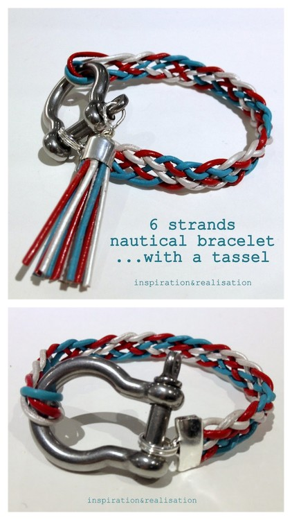 DIY Unisex Six Strand Bow Shakle Nautical Bracelet Tutorial from inspiration & realisation here. Lots of tutorials in one post: very clear diagram of how to braid six strands, how to make an easy tassel, etc… I think this is a good men's bracelet (different braid colors) because the nautical bow shakle isn't a charm. For 76 pages of DIY bracelets go here: truebluemeandyou.tumblr.com/tagged/bracelet