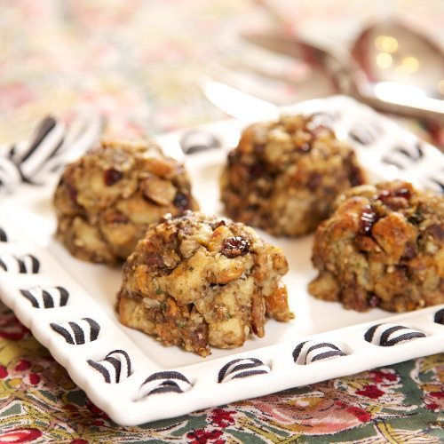 Stuffing Scoops:  Baking stuffing on its own is an easy way to cut some fat out of this beloved side dish. Ice cream scoops make these stuffing servings as adorable as they are delicious. This recipe comes to us from Donna of Apron Strings.