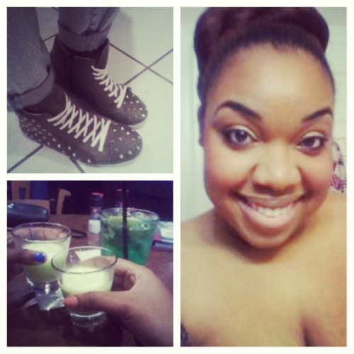 An eventful night/day… I wore sneakers w/ an outfit & had green shots with the bestie. #Shots4Patty