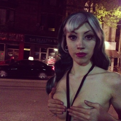 My love @elarablair topless in the city. No worries Instagram I made her hide them. Legal in the street but not on Instagram. lol
