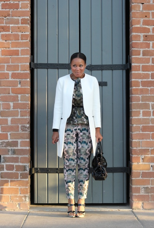 blackfashion:  Coat: Zara, Top/Pants: Madewell, Shoes: Marni, Bag: Gucci Tiffany, AZ www.the-werk-place.com http://instagram.com/thewerkplace