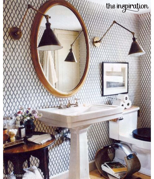 Rurve a wallpapered bathroom.  (via Make It Your Own | mint)