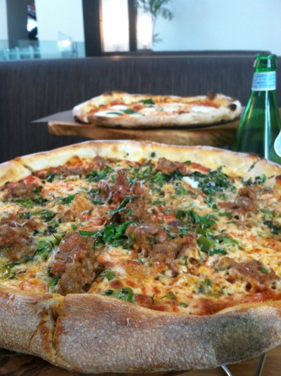 italian sausage pizza [broccolini, roasted garlic, pecorino]  margherita pizza [mozzarella, san marzano tomatoes, basil]  wolfgang puck pizzeria & cucina  las vegas, nevada