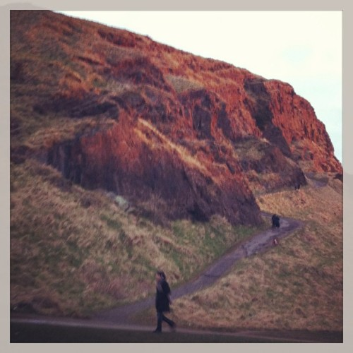 Last rays of sun on Salisbury Crags (at Holyrood Park)