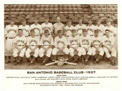 1937 San Antonio Missions TeamNot a lot to say about this St. Louis Browns affiliated, Texas League squad…except that's quite a bandage on Johnny Sams chin (back row, 4th from left).