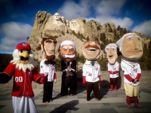 It looks like the Nationals want to make sure President Taft starts his inaugural racing season with an inferiority complex. The Racing Presidents took a trip to visit their likenesses at Mount Rushmore to celebrate President's Day.  Of course it wouldn't be right if they weren't racing, so fans were able to vote on who would reach the monument first — Teddy or new President Taft.  Teddy won by a large margin, proving that it'll take Bill more than just a fancy suit and a handsome mustache to win over Nats fans. (via Racing Presidents at Mount Rushmore)