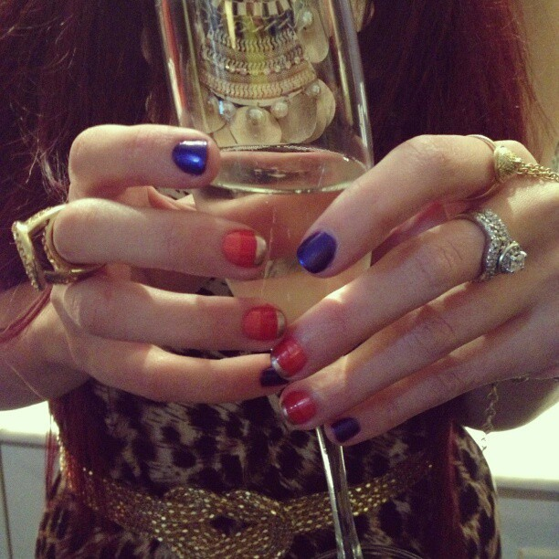 @shoptrinaturk #NYFW #MBFW #fall13 inspired #nails by @nailsbymarysoul All about the purple, red and gold stripes!  (at The Empire Hotel)