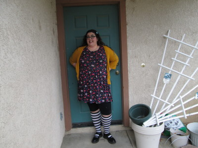fatshionfebruary:  This was my outfit for day 2 of Fat Feb. cardigan: target size 3 dress: asos size 22 leggings: torrid size 2 socks: domino dollhouse shoes: dr. martens size 9