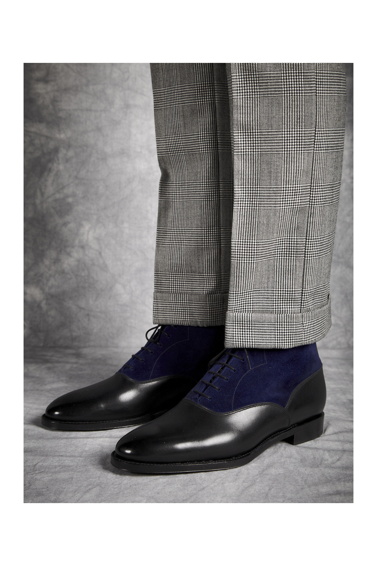jfitzpatrickfootwear:  Bal Boots with suits? Why not!! Wedgwood in Black calf/Vivid Blue suede…