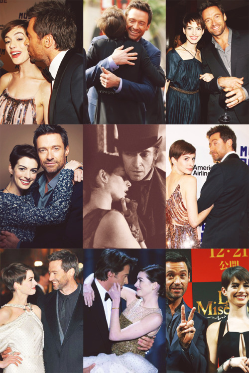 what-theface:    fangirl challenge 3/15 friendships → anne hathaway and hugh jackman