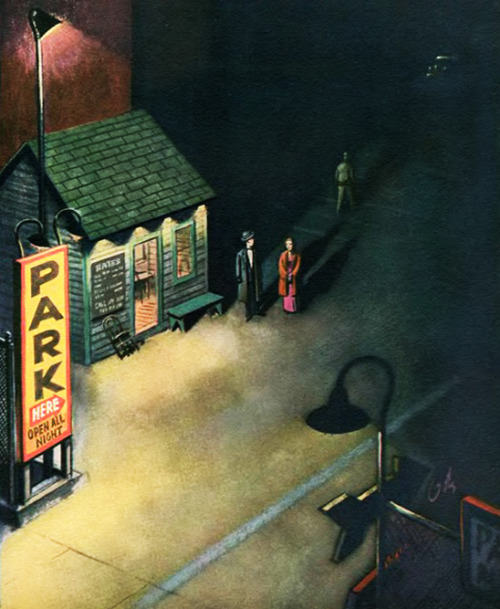 Parking Lot, art by Arthur Getz.  Detail from May 2, 1953 The New Yorker cover.