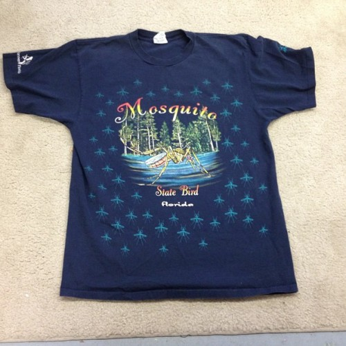 Q: what's the state bird of Florida?  A: Mosquito (according to this shirt). #alloverprint #mosquito #florida #swampy #skeeter #allergictocubicles #thrifting