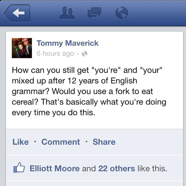 kingofmaverick:  This is worth reading Hahaha #grammar #grammarnazi #text #facebook #boss #english #americans #sexy