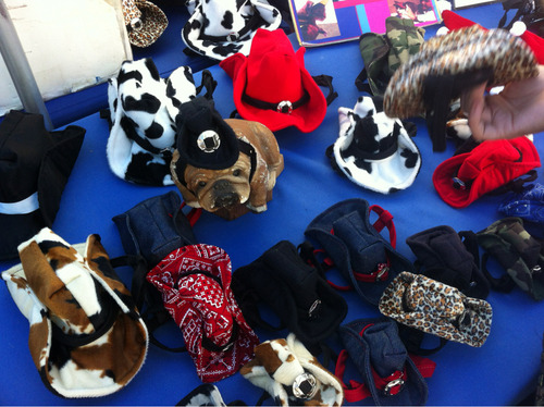 The street fair has so much useless shit, including cowboy hats for dogs.