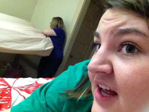 ignoranceisignorance:  Creeping on my roommate while she makes her bed.