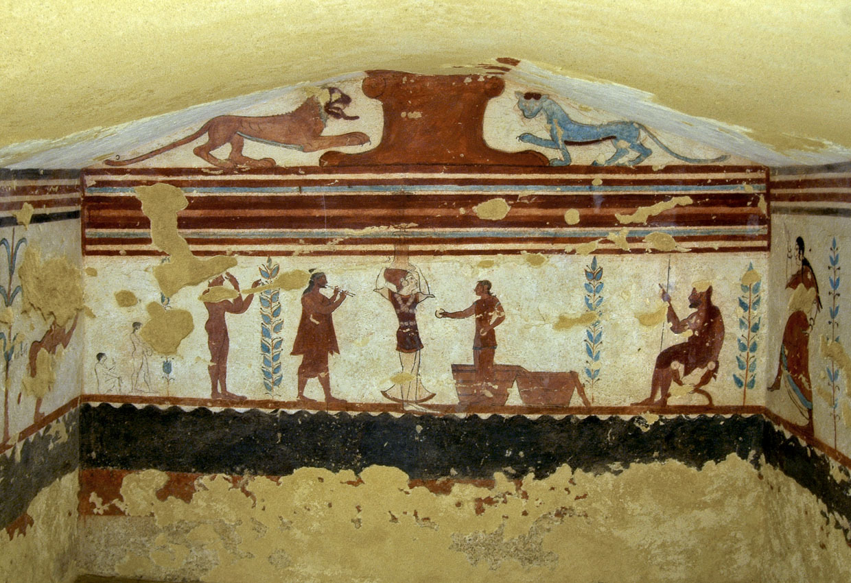 Wall-painting of the Etruscan Jugglers Tomb in Tarquinia. Ca. 510 B.C. Photo courtesy Sergey Sosnovskiy